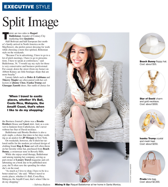 Raquel Baldelomar, Founder Of Quaintise, Featured in Los Angeles Business Journal