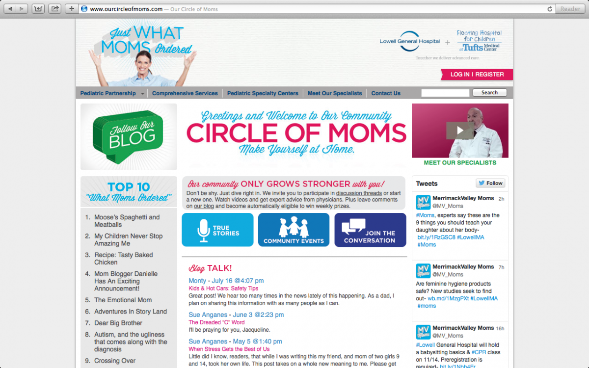 The Floating Hospital for Children supports moms with its Circle of Moms blog.